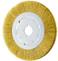 Crimped Wheel Brushes - Narrow Face - Brass Wire