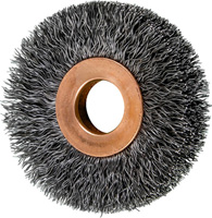 Crimped Wheel Brushes - Small Diameter Copper Centre - Carbon Steel Wire