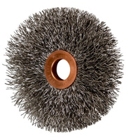 Crimped Wheel Brushes - Small Diameter Copper Centre - Stainless Steel Wire (INOX)
