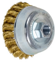 Knot Cup Brushes - External Nut, Single Row - Standard Twist - Brass Wire