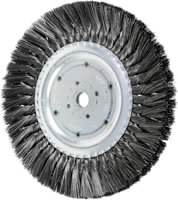 Knot Wheel Brushes - Standard Twist - Single Row, Long Flag - Carbon Steel Wire